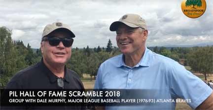 PIL HOF President John Dunn with MLB MVP Dale Murphy at the 2018 Golf fundraiser